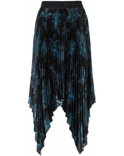 Satynowa czarna spódnica asymetryczna Givenchy