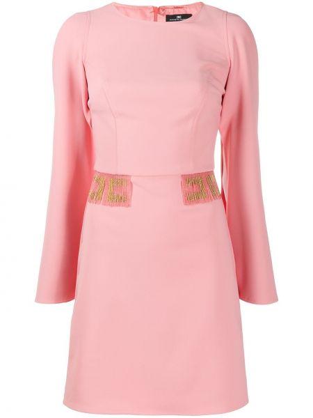 Платье макси розовое с бисером Elisabetta Franchi