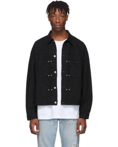Czarny kurtka jeansowa z kieszeniami z długimi rękawami z łatami John Elliott
