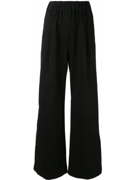 Хлопковые черные брюки эластичные Forte Forte
