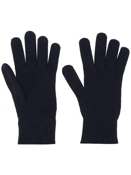 Prążkowane niebieskie rękawiczki wełniane Moncler