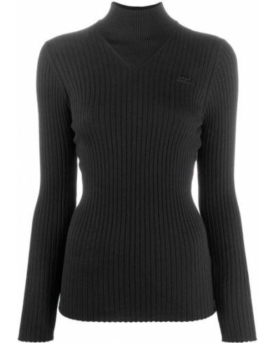 Облегающий хлопковый черный джемпер в рубчик Courrèges