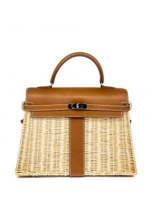 Соломенная кожаная сумка круглая Hermes