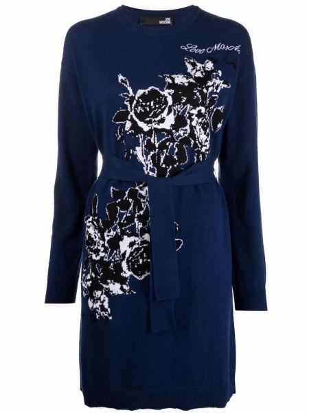 Шерстяное платье макси - синее Love Moschino