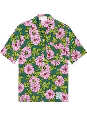 Różowa koszula krótki rękaw z jedwabiu Gucci