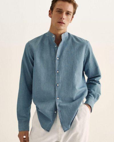 Голубая турецкая рубашка Massimo Dutti