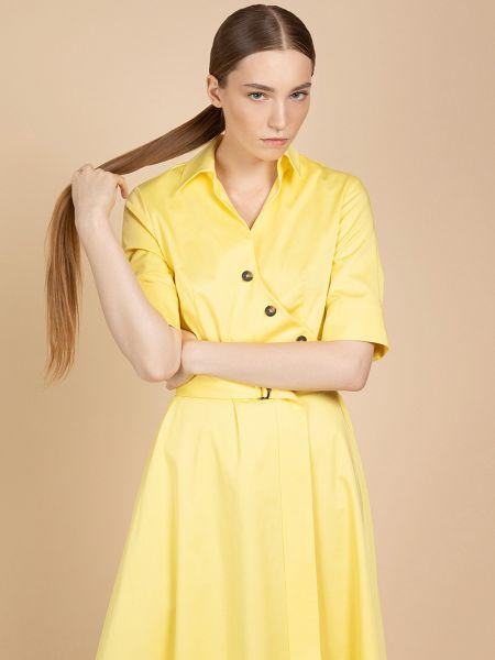 Платье с поясом на пуговицах с рукавами Vassa&co