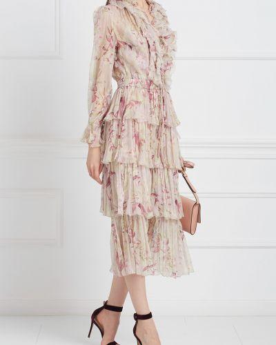 Платье с цветочным принтом на резинке Zimmermann