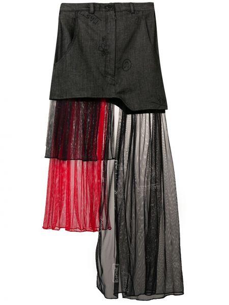 Джинсовая юбка на молнии с поясом из фатина Barbara Bologna