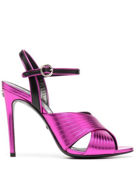 Skórzany czarny sandały z klamrą na pięcie Gucci