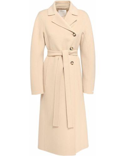 Шерстяное бежевое длинное пальто с карманами Sportmax