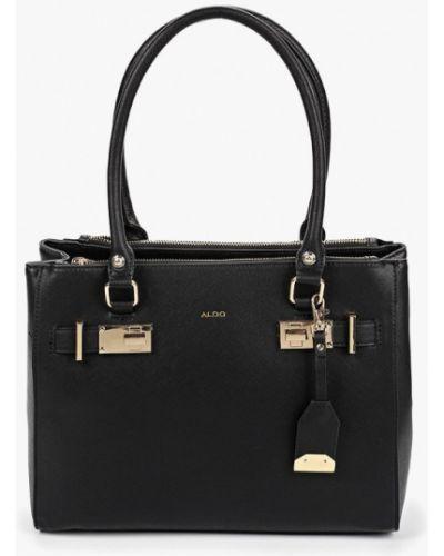 Кожаный сумка с ручками черная Aldo