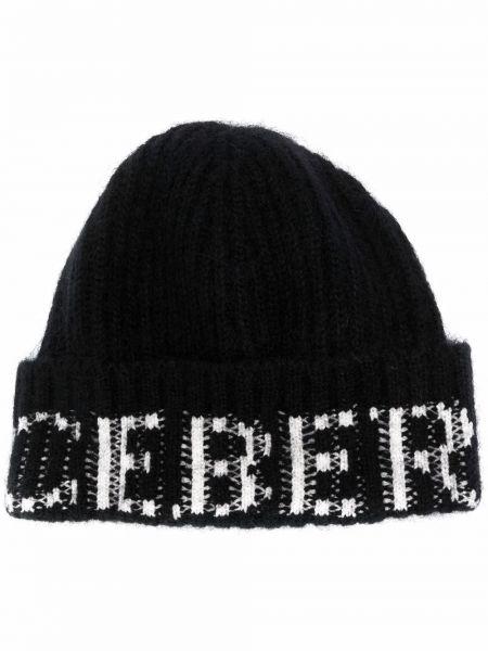 Шерстяная шапка бини - черная Iceberg