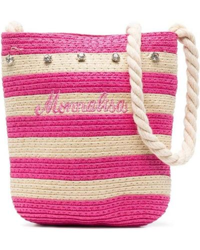 Розовая косметичка с вышивкой в полоску Monnalisa