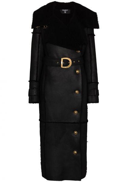 С рукавами черное шерстяное пальто на пуговицах Balmain