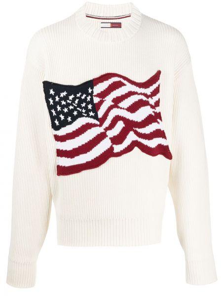 С рукавами белый свитер в рубчик с вырезом Hilfiger Collection