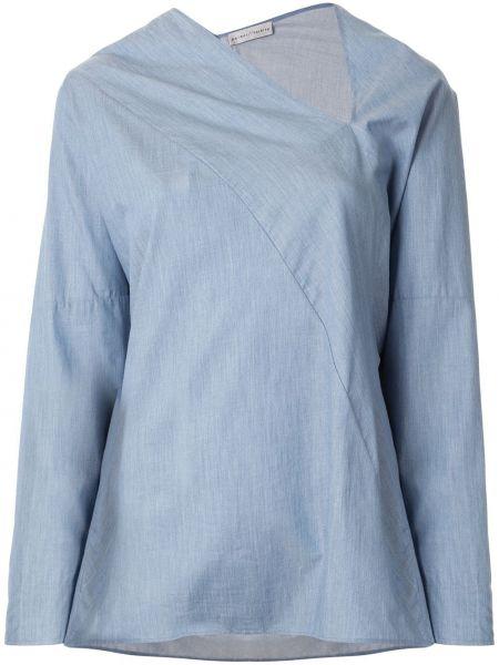 С рукавами хлопковый расклешенный синий топ Palmer / Harding
