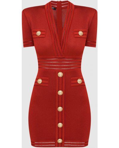 Красное платье миди Balmain
