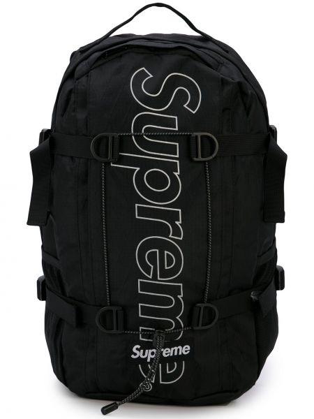 Czarny plecak z nylonu z printem Supreme