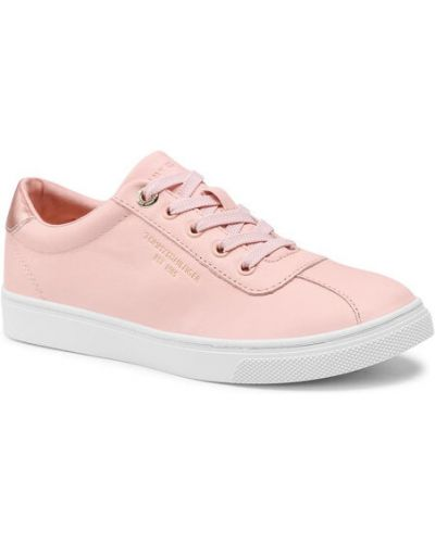 Różowe sneakersy skorzane Tommy Hilfiger