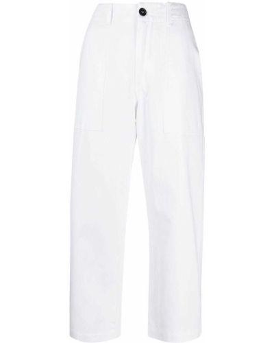 Хлопковые белые брюки на молнии Jejia
