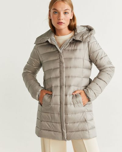 Прямая стеганая куртка мятная с поясом Mango