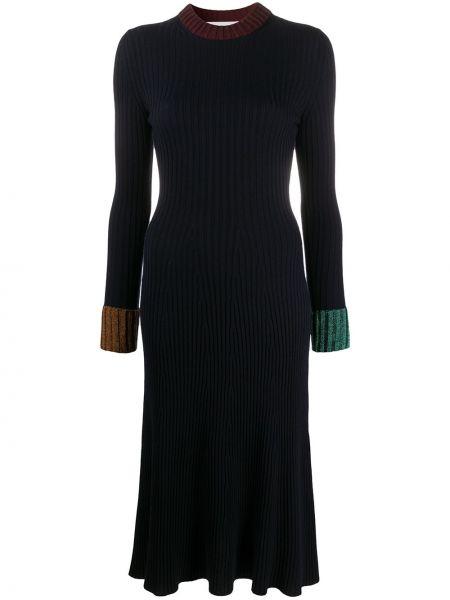 Синее платье миди в рубчик с вырезом металлическое Lanvin