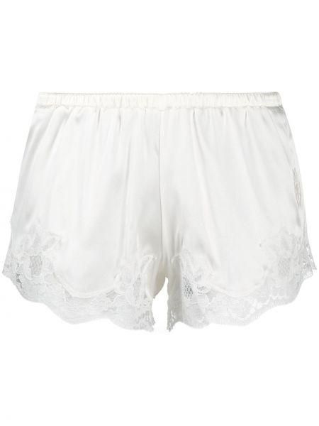 Белые хлопковые кружевные трусы-шортики Dolce & Gabbana