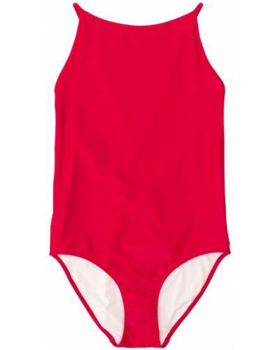 Слитный купальник красный с вырезом Burberry Kids