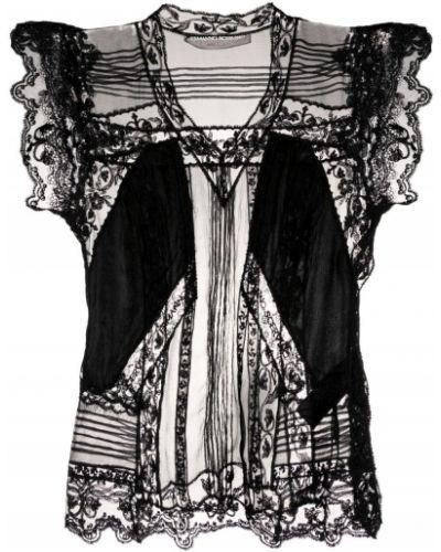 Шелковая черная блузка с короткими рукавами Ermanno Scervino