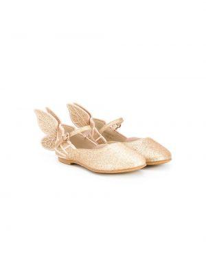 Золотистые кожаные желтые балетки на плоской подошве Sophia Webster Mini