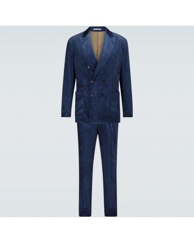 Хлопковый темно-синий костюмный костюм с подкладкой Brunello Cucinelli