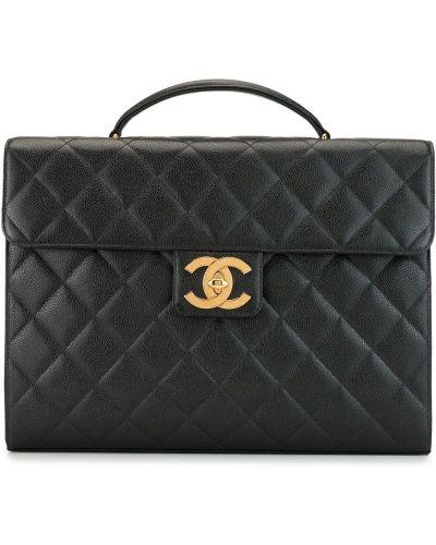 Skórzany czarny teczka z kieszeniami z ozdobnym wykończeniem Chanel Pre-owned