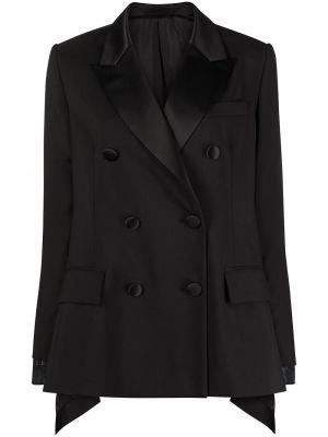 Черный удлиненный пиджак двубортный с карманами Sacai