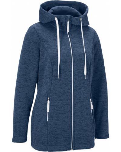 Флисовая синяя куртка с капюшоном на молнии с карманами Bonprix