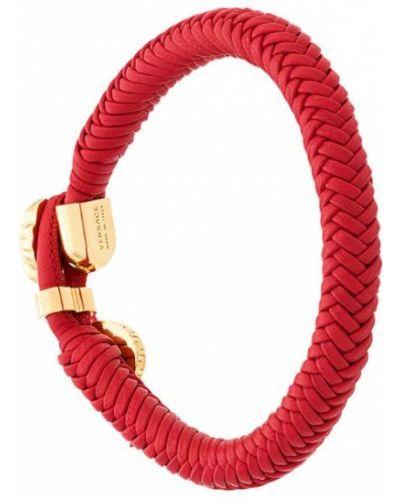 Плетеный браслет кожаный металлический Versace
