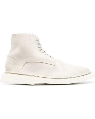 Białe ażurowe ankle boots zamszowe Marsell