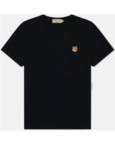 Хлопковая футболка с вышивкой с воротником Maison Kitsuné