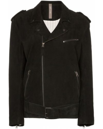 Черная длинная куртка байкерская для полных Lot Lthr