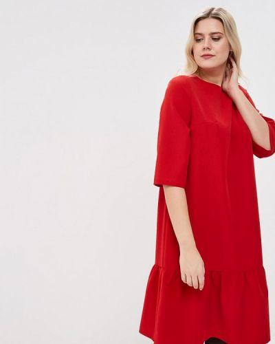 Повседневное платье красный осеннее Tutto Bene Plus