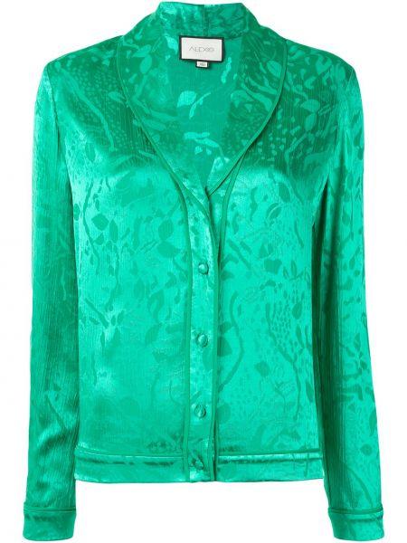 Зеленая прямая блузка с длинным рукавом на пуговицах из вискозы Alexis