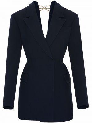 Шерстяное платье макси - синее Oscar De La Renta
