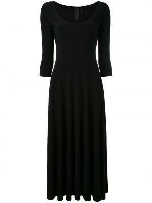 Черное расклешенное платье миди с вырезом круглое Norma Kamali