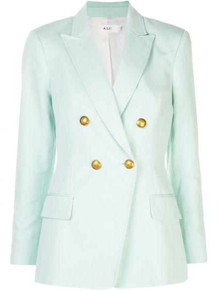Зеленый пиджак двубортный с воротником A.l.c.
