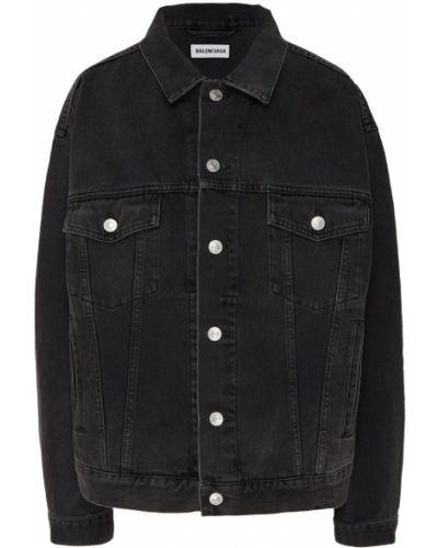 Джинсовая куртка черная оверсайз Balenciaga