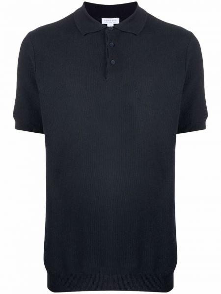 Синяя хлопковая рубашка Sunspel
