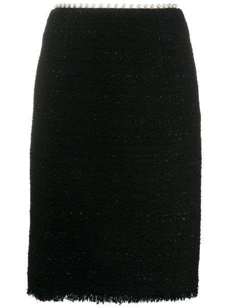 Шелковая черная с завышенной талией юбка карандаш с жемчугом Giambattista Valli