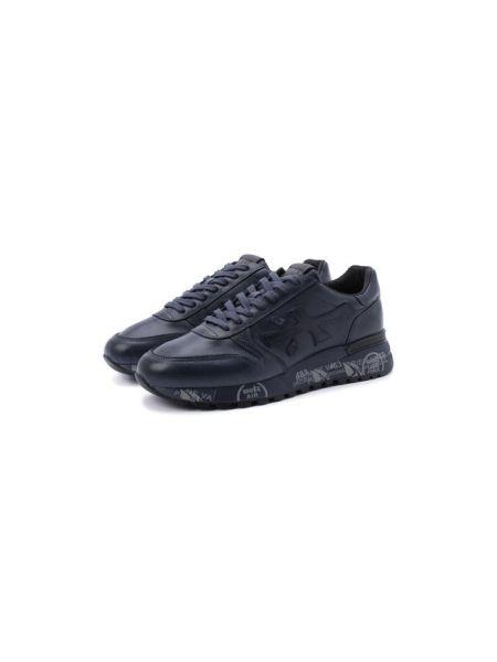 Синие текстильные кроссовки на шнуровке с подкладкой Premiata