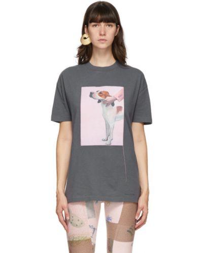 С рукавами свободная рубашка с коротким рукавом с воротником с заплатками Acne Studios