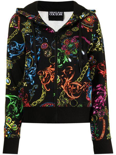 Худи длинное - черное Versace Jeans Couture